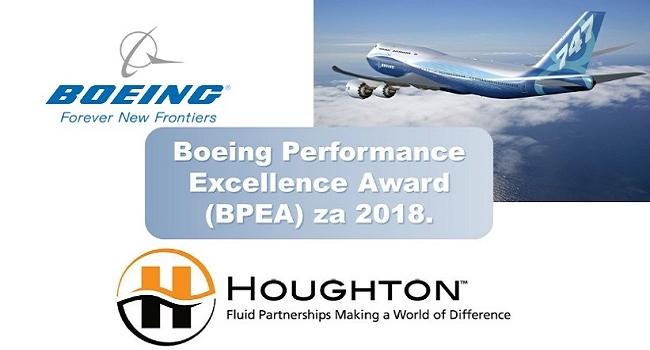 Kompanija Boeing dodeljuje priznanje za izvrsnost kompaniji Houghton